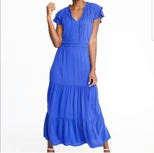 Old Navy Tiered Blue Crepe Maxi Dress XL